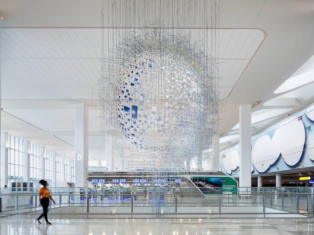 LaGuardia Airport, Terminal B, Public Art Fund, Jeppe Hein, Sabine Hornig, Laura Owens, Sarah Sze
