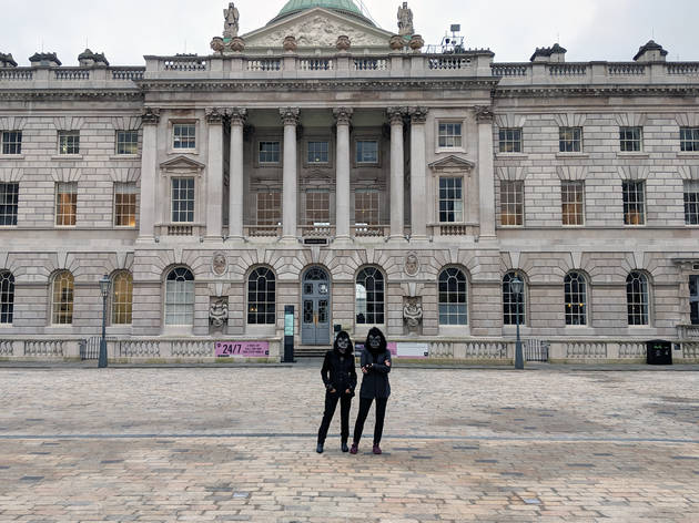 Anonymous feminist group The Guerilla Girls photographed during a site visit at Somerset House in London in January 2020. The group will develop a major new commission – their largest ever public project in the UK – for free all-night contemporary art fes
