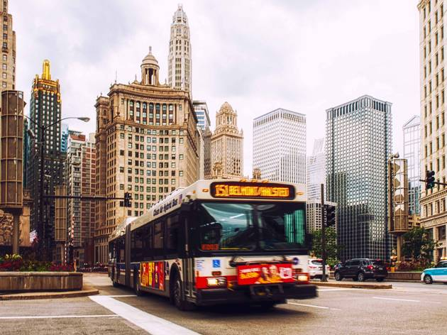 cta bus in the Loop