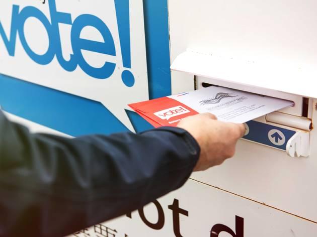 casting a voting ballot