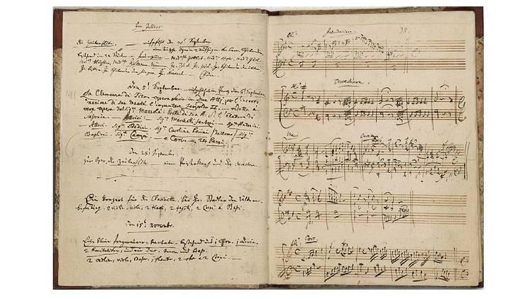 Música, Pauta, Páginas do caderno de anotações musicais de Mozart