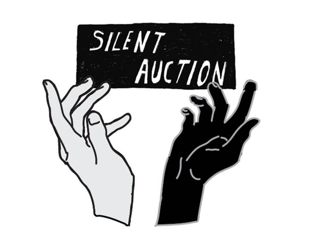 """An illustration depicts two hands reaching up, one is light-skinned and one is dark-skinned, above them is a banner with the words """"Silent Auction""""."""
