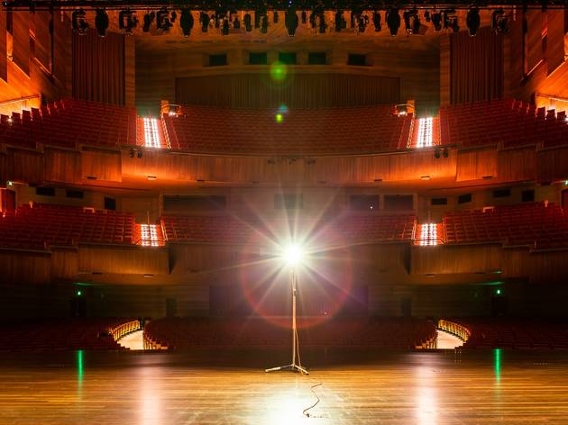 A stage with a ghost light on it at arts centre melbourne