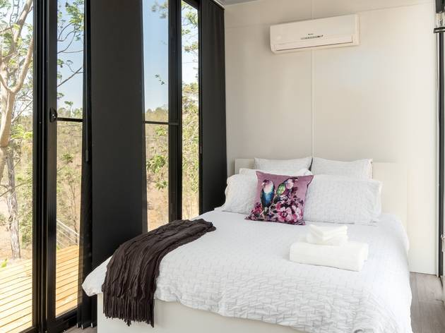 Interior of tiny home with bed