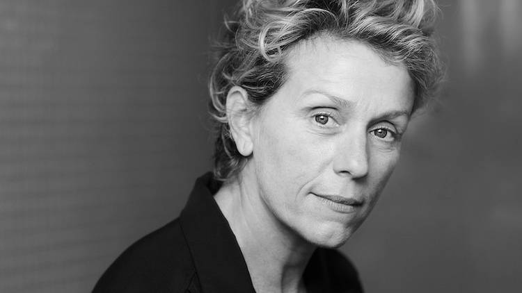 Frances McDormand in black and white