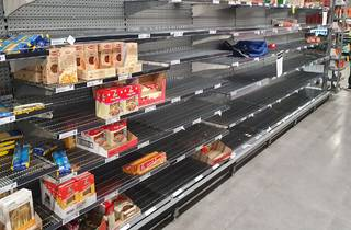 Empty shelves in a Australian supermarket