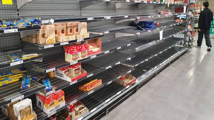 Empty shelves in a Australian supermarket