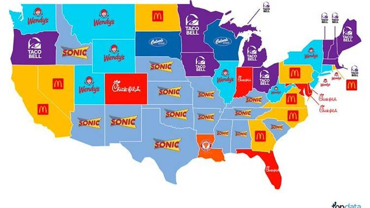 Most popular fast food chain in each state