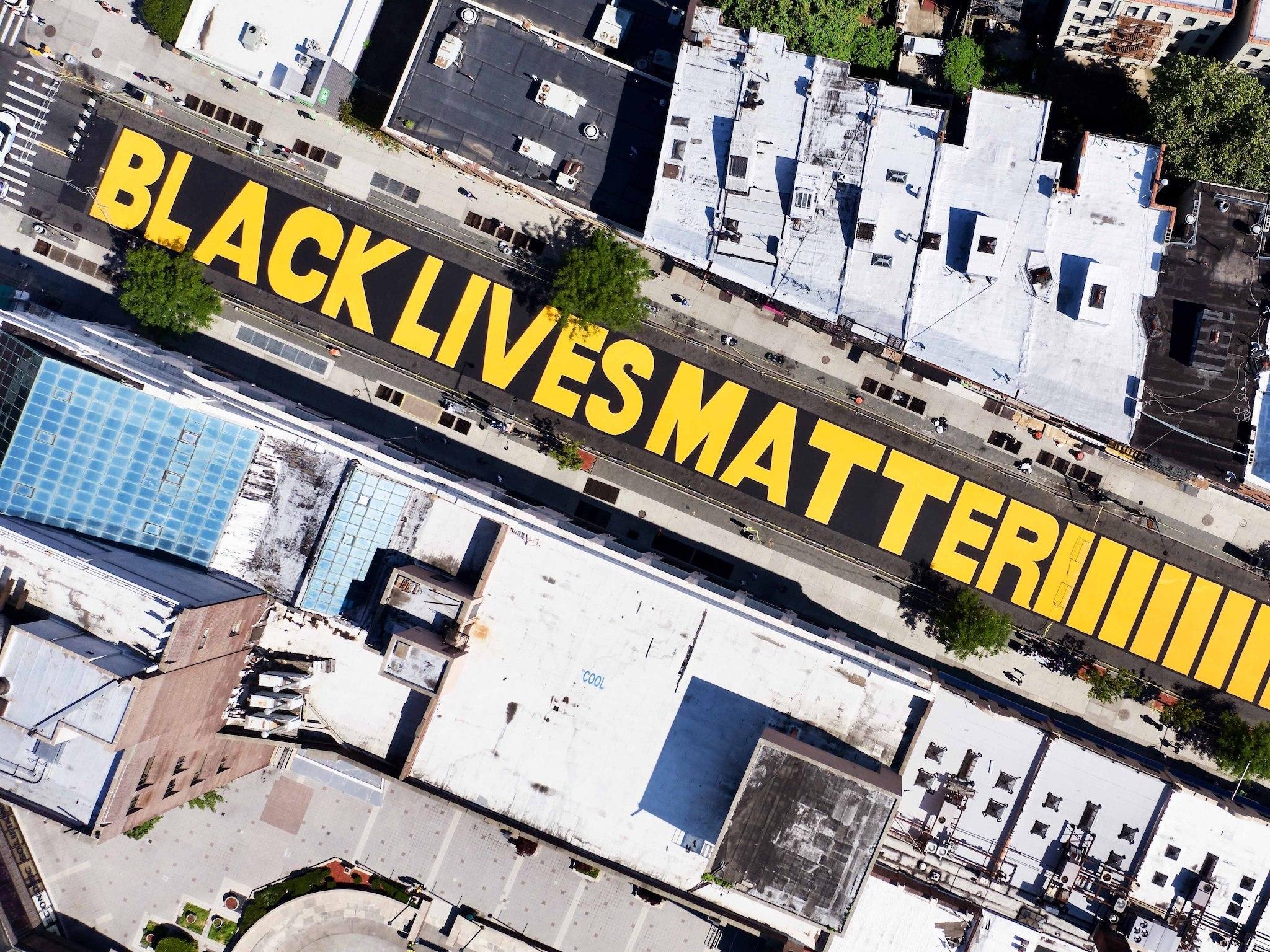 George Floyd, NYC, Black Lives Matter, murals, Washington D.C., Oakland, CA, Brooklyn, Harlem, Adam Clayton Powell Jr. Boulevard, Mayor De Blasio