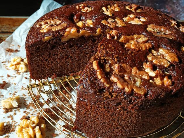 Old Seng Choong black sugar cake with walnuts