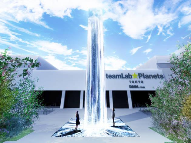 チームラボが新しいパブリックアートを発表、豊洲に巨大な滝が出現