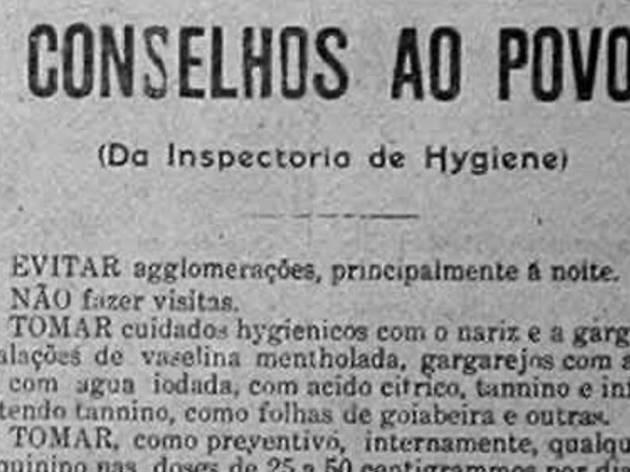 Medidas sanitárias recomendadas aquando da gripe espanhola de 1918