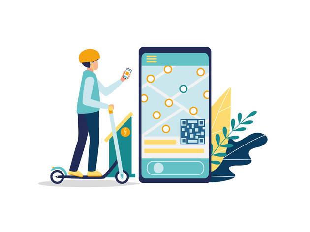 Ilustración de persona utilizando un scooter electrico