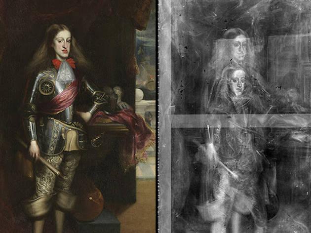 """Carlos II con armadura"""" de Carreño de Miranda y radiografía de la obra."""