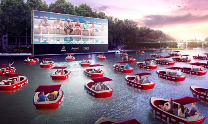 Paris is hosting a floating movie night where everyone sits in boats
