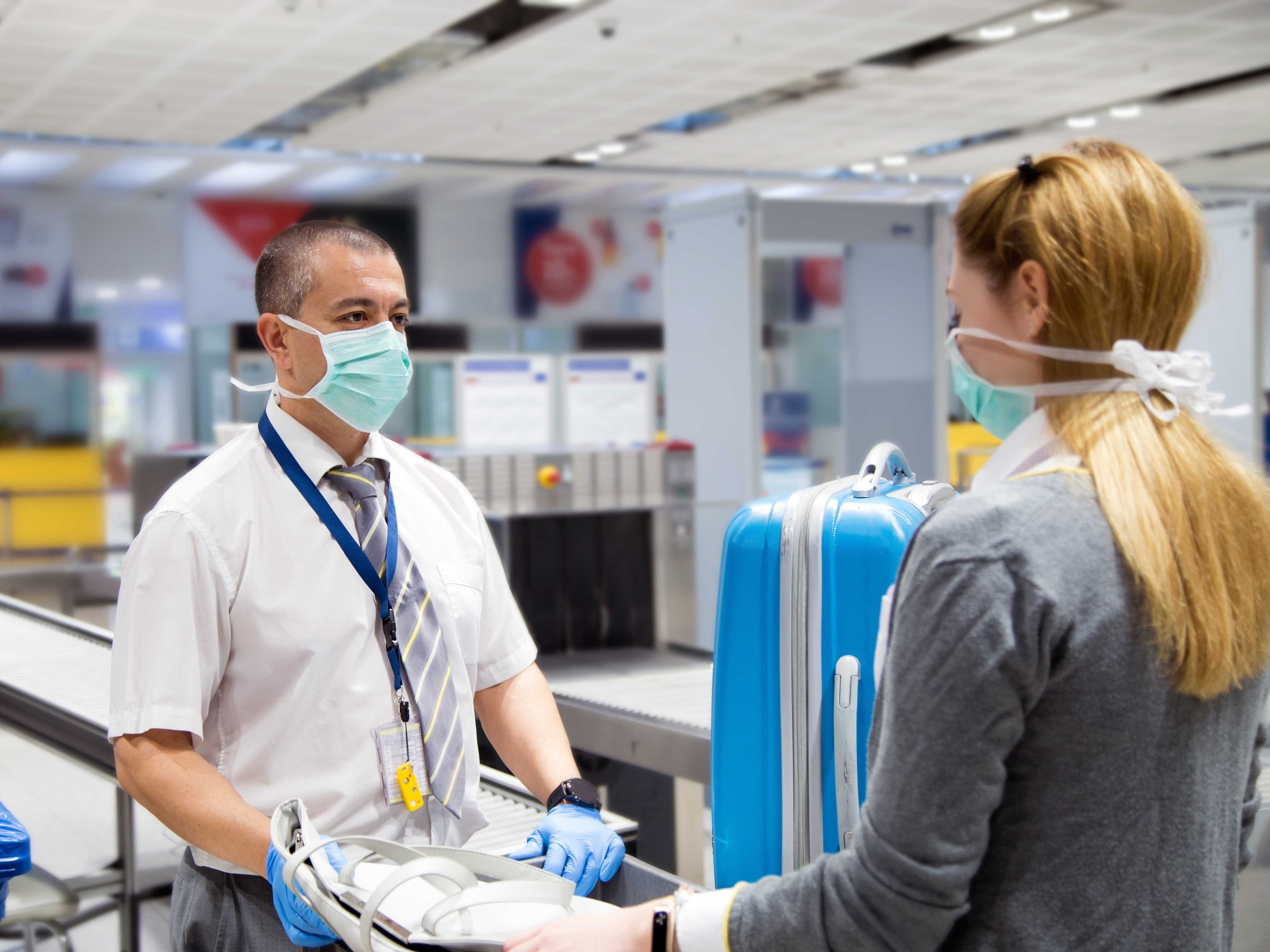 Face masks, airport, travel