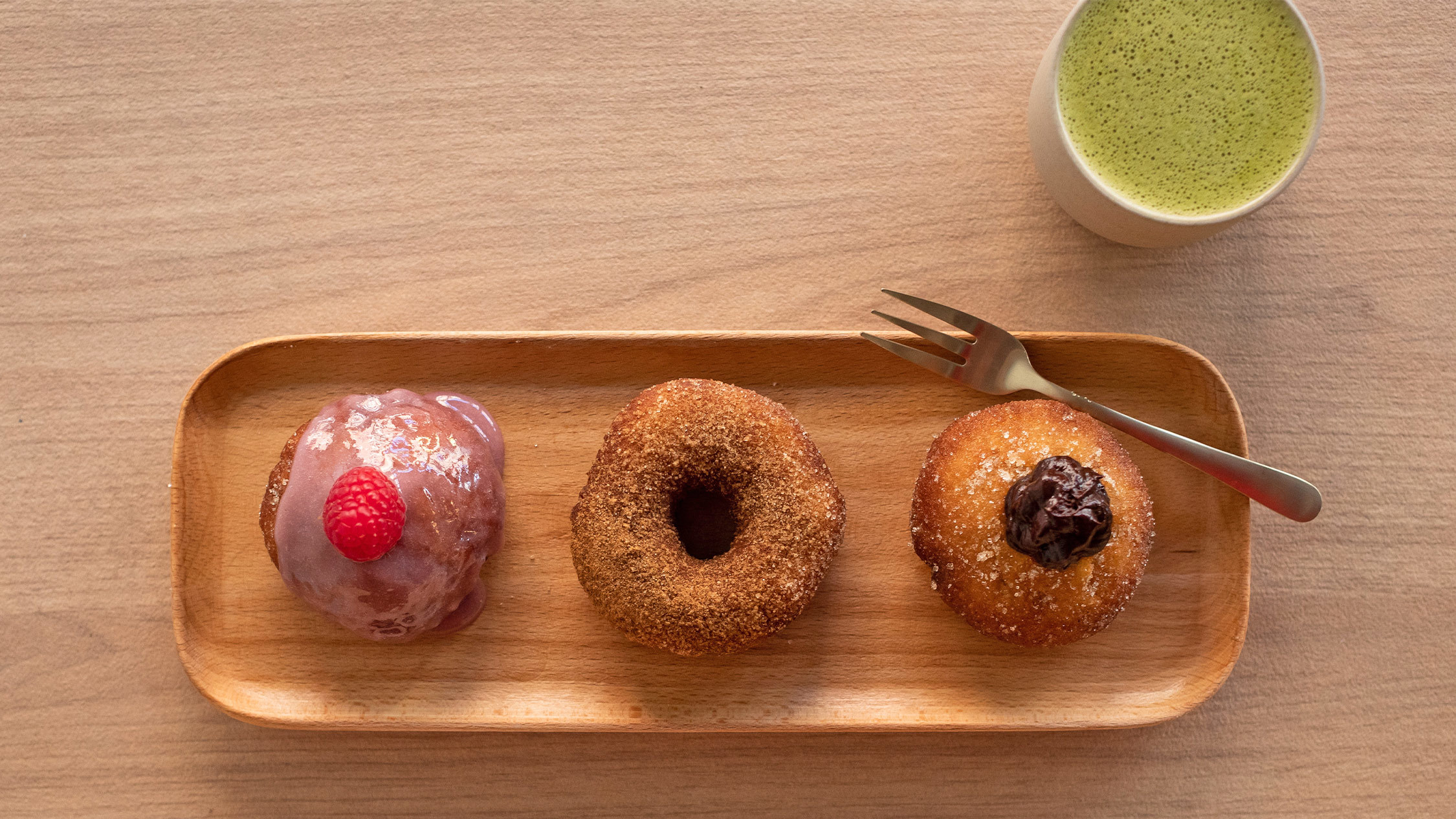 Comeco Foods Raspberry custard sourdoughnut, Organic cinnamon sugar sourdoughnut, Chocolate custard sourdoughnut