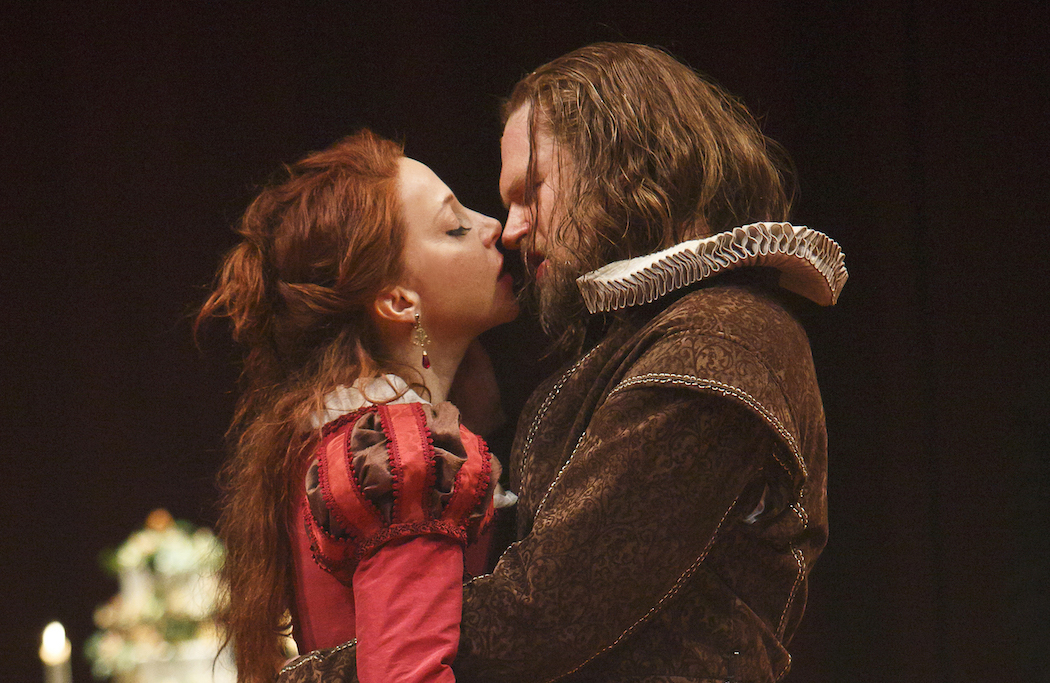 Deborah Hay as Katherina and Ben Carlson as Petruchio in The Taming of the Shrew