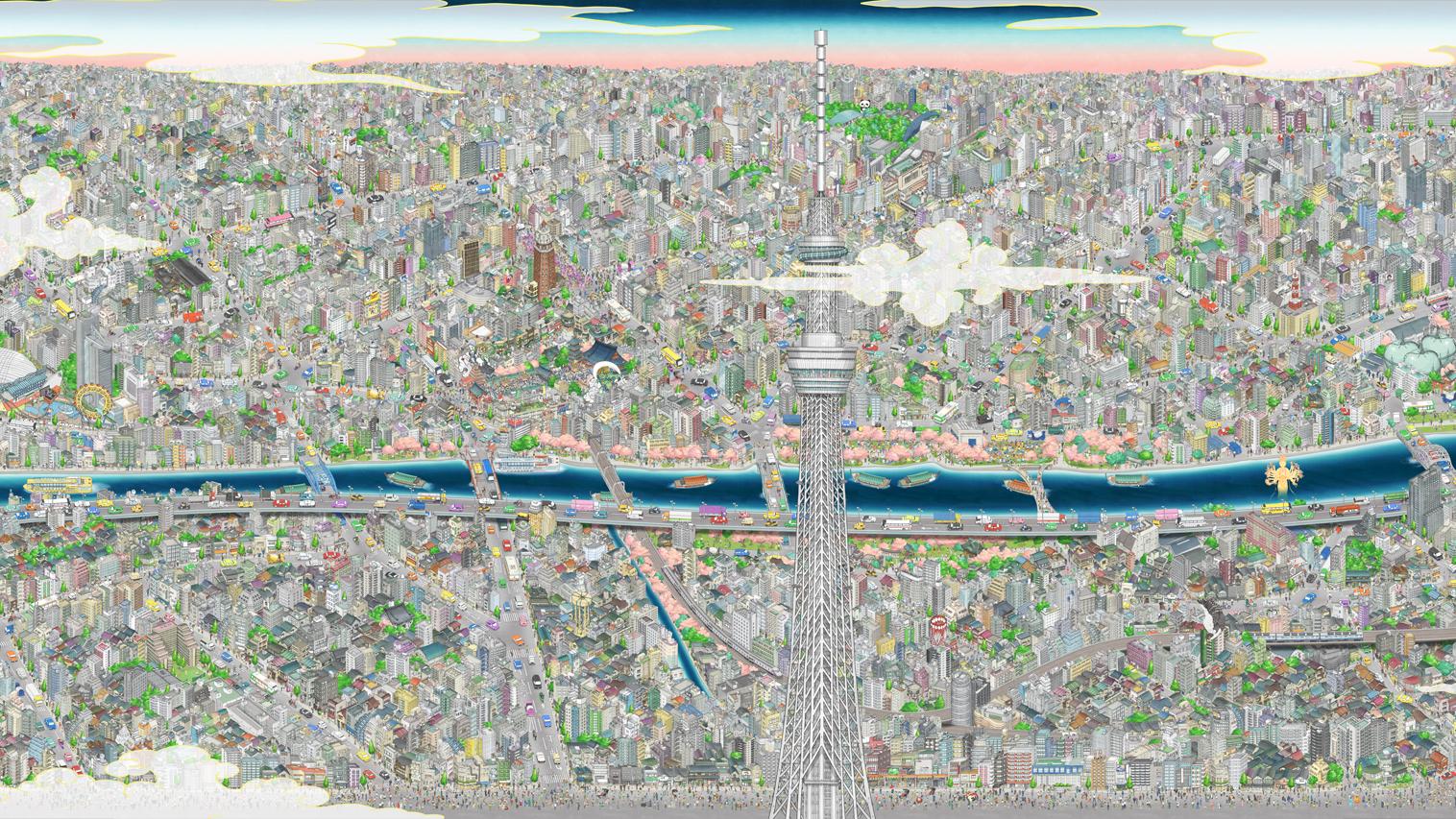 Tokyo skytree mural teamLab
