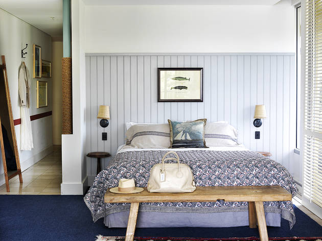 Watsons Bay Boutique Hotel room with blue bed