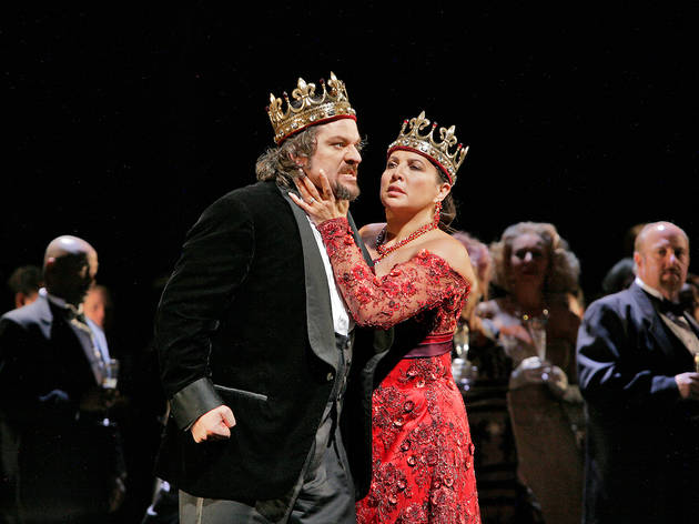 "Maria Guleghina as Lady Macbeth and Zeljko Lucic in the title role of Verdi's ""Macbeth"""