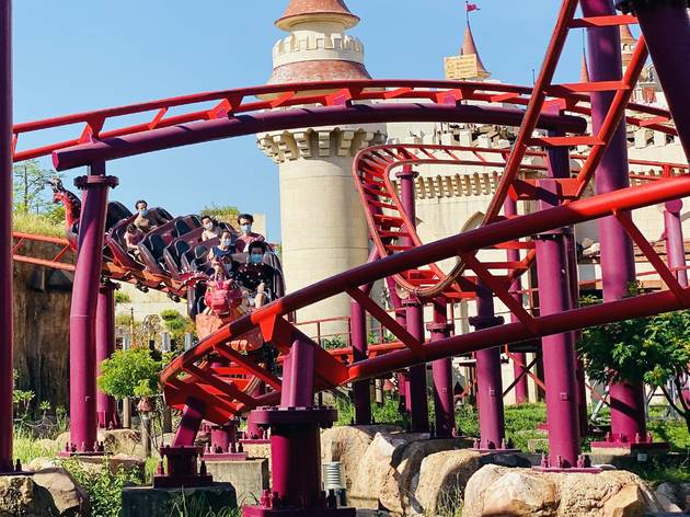 Universal Studios Singapore Phase 2 mask on roller coaster