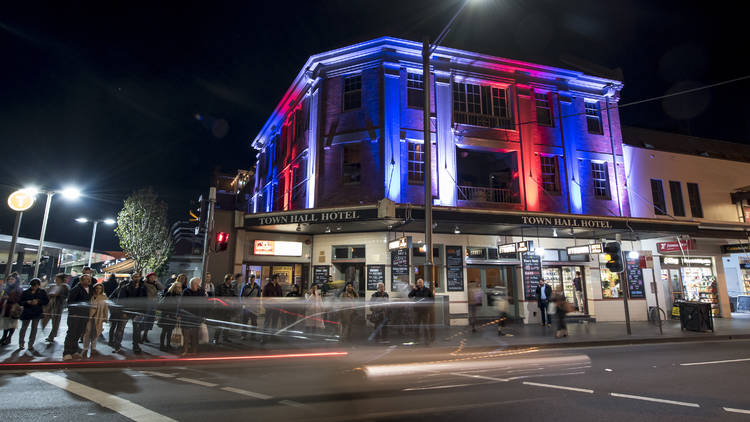 Newtown Town Hall Hotel at night