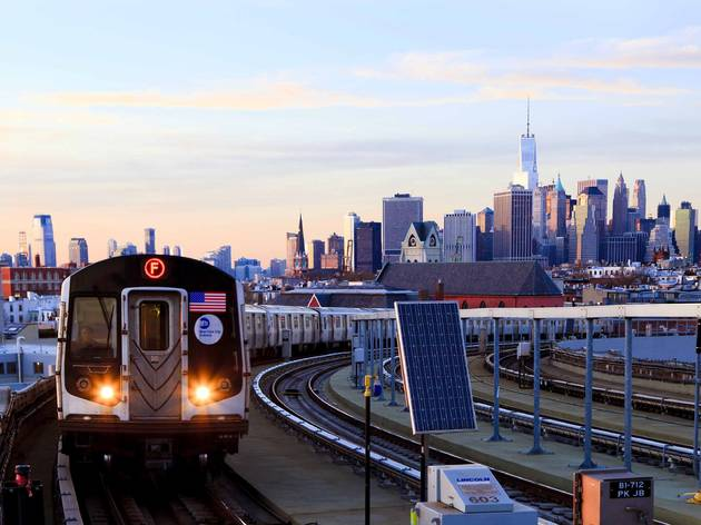 nyc train and skyline