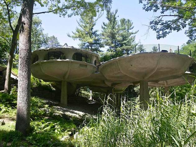 You can rent this wacky mushroom house in the woods upstate