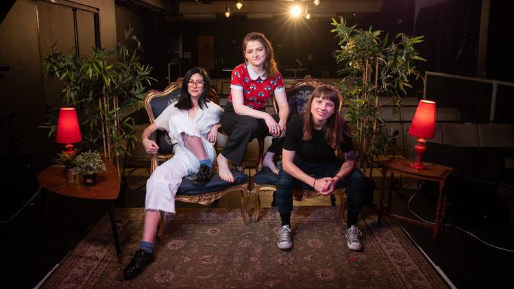Jess Gordon, Moira Kennedy, and Bec Annetts at the new Giant Dwarf Theatre.
