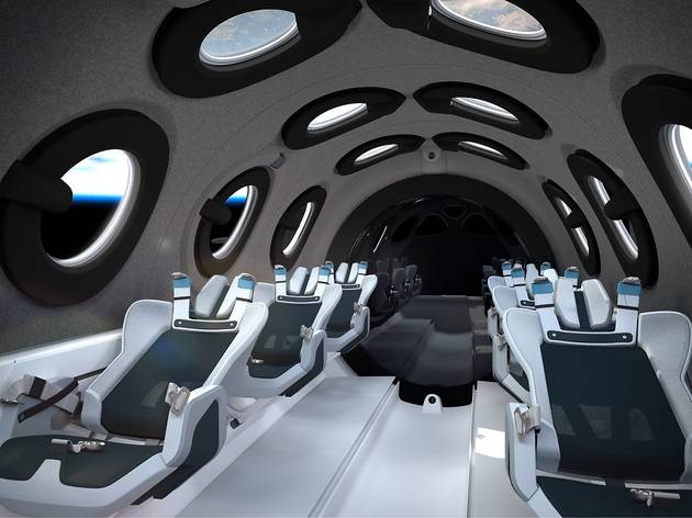 Interior de la nau espacial SpaceShipTwo