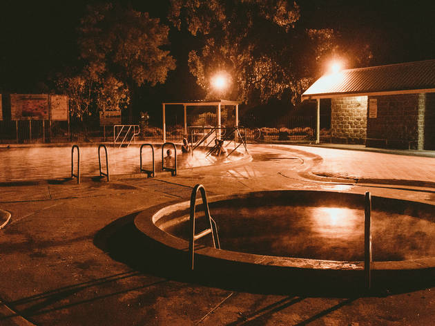 Lightning Ridge Bore Baths at night