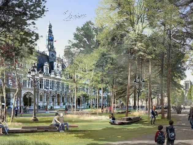 © Hôtel de Ville / Projet de forêt urbaine devant l'Hôtel de Ville de Paris