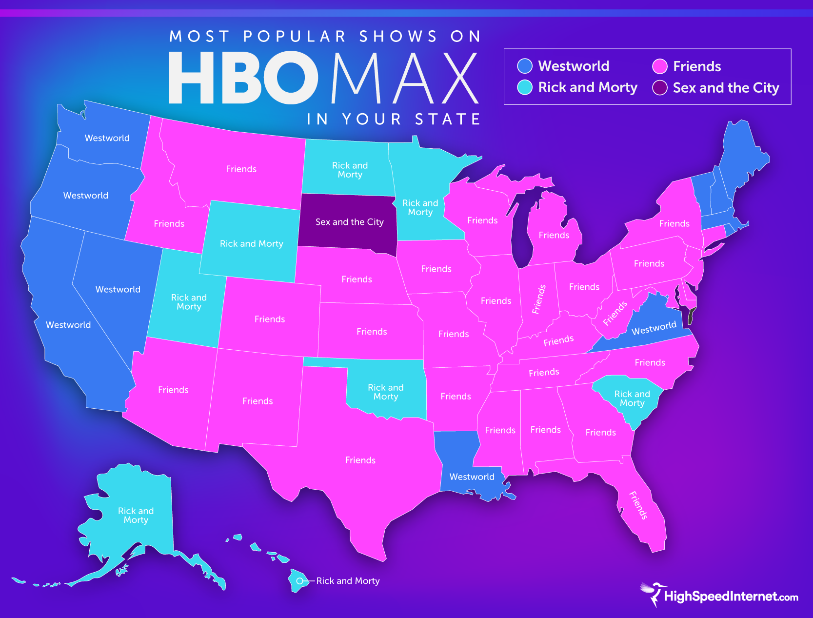 This map highlights each state's favorite HBO Max show