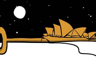 Ilustration of Sydney Opera House sails as part of a golden key against a night sky