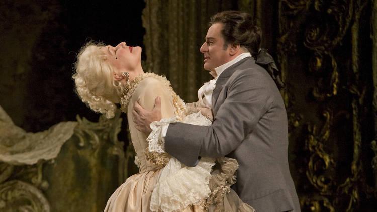 """Karita Mattila in the title role and Marcello Giordani as Des Grieux in Puccini's """"Manon Lescaut"""" at the Metropolitan Opera"""