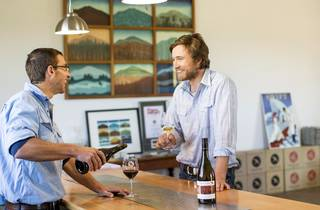 Two men talking over wine