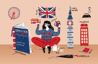 Ilustración de una chica rodeada de elementos ingleses