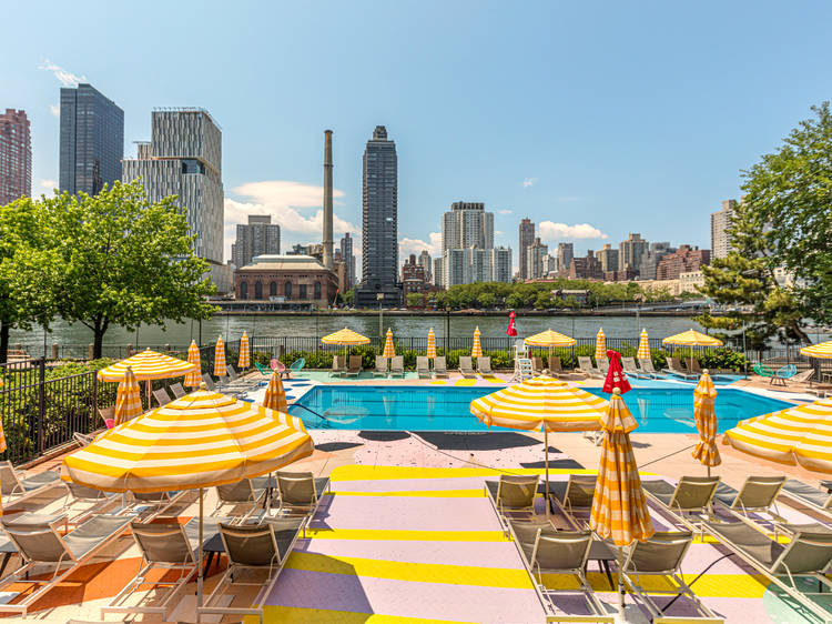 Get a pass with this gorgeous multicolor pool on Roosevelt Island for the summer