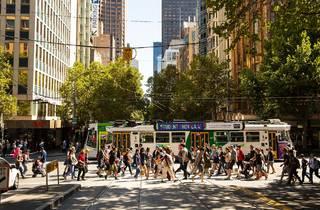 Swanston Street Melbourne crowds
