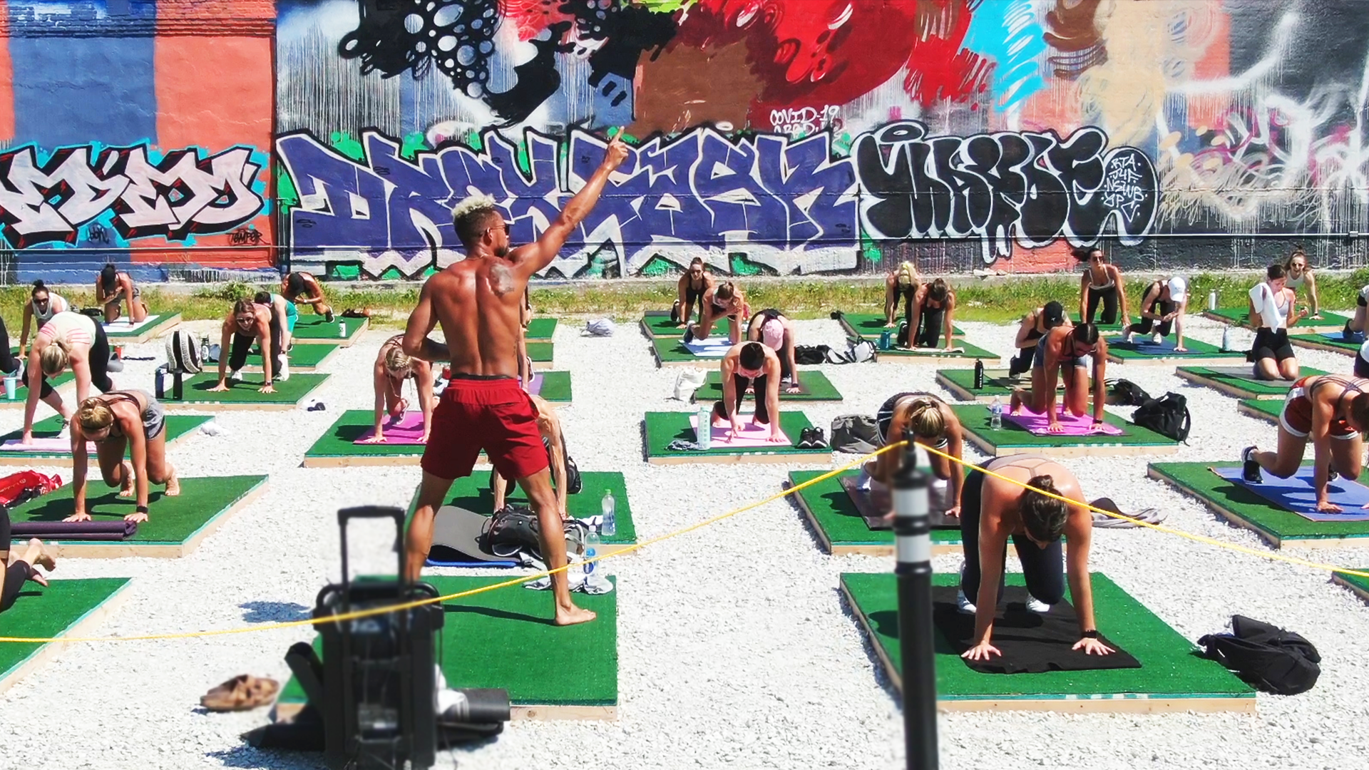 In River North, a vacant lot has been transformed into an outdoor fitness studio
