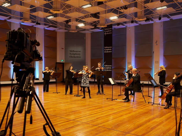 MSO musicians performing while being filmed