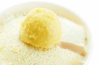 Chung So dessert Sweet Tofu with Durian Sorbet