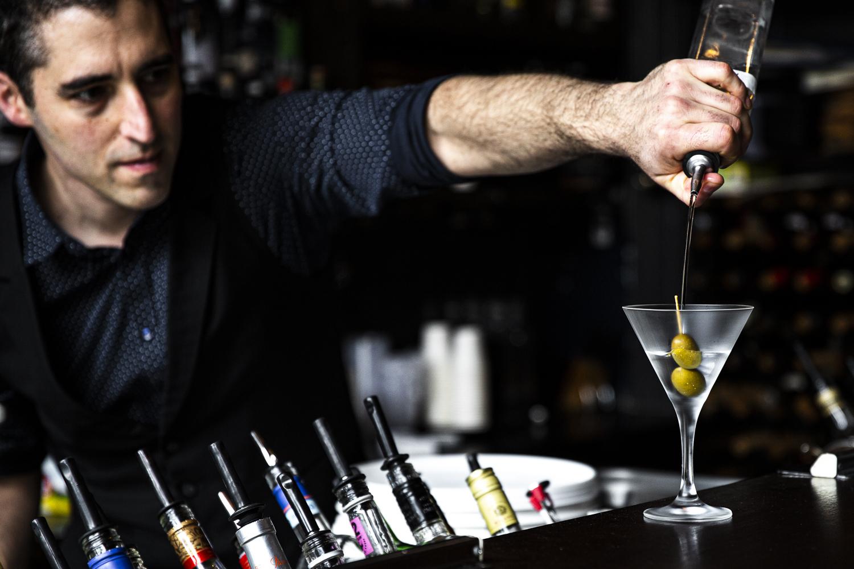 Making cocktails at Antique Bar
