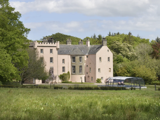 This remote pink Scottish castle is currently for sale