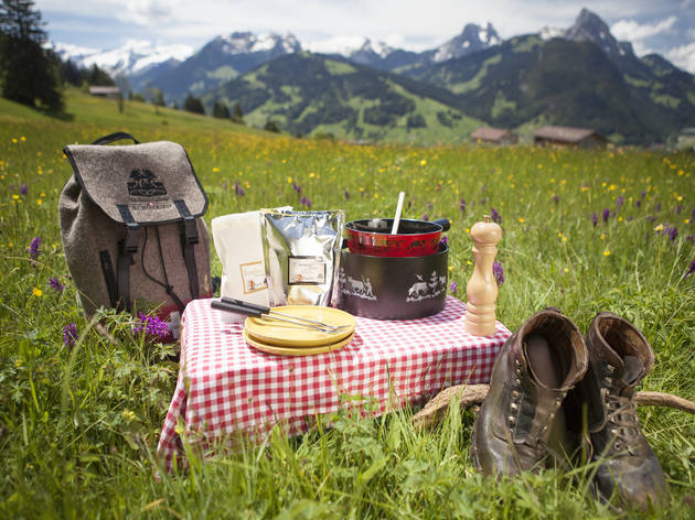 A fondue and picnic set in a field.