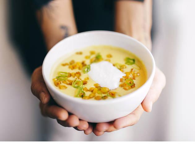 Restaurante, Isco, Sopa, Milho doce e nata azeda