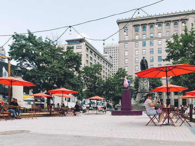 Outdoor dining with Time Out Market Montréal now in the heart of downtown