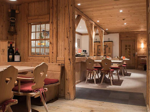 The inside of a traditional Swiss hotel, Hotel Kernen.