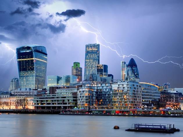 lightning over city of london